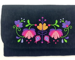 Clutch com Bordado Floral LJ1a