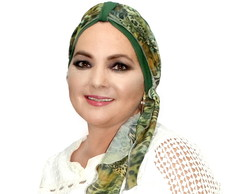 Turbante Verde com Lenço Animal Print