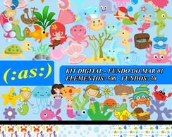 Kit Digital Scrapbook Fundo Do Mar 1