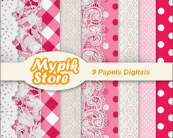 Kit Papel Digital Scrap Rendas - 24