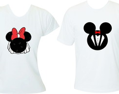 Kit 2 camisetas Noivado Mickey Minnie