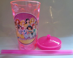 Copo c/ Canudo 500ml Princesas Disney 01