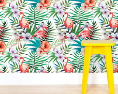 Papel de Parede Tropical com Flamingos m²