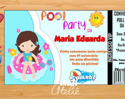 Convite Pool Party (festa na piscina)
