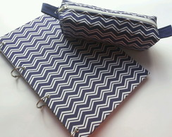 kit Caderno + Estojo Chevron
