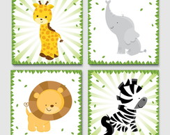 Kit Quadro Infantil -Selva Cute