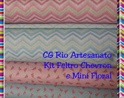 Feltro Estampado -Chevron/Mini Floral