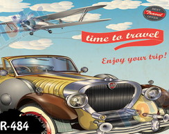 Placa Retro Vintage Carro 60x40cm