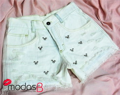 Short Jeans Customizado Mickey & Minnie Modelo 4