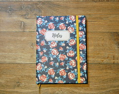 Caderno rosas notes pequeno com pauta