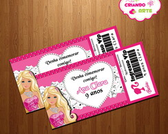 Arte Digital Convite Ingresso Barbie