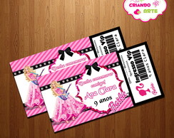 Arte Digital Convite Ingresso Vip Barbie