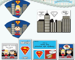 Kit Festa Infantil Supergirl e Superman