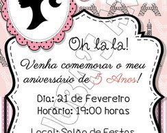 Convite Barbie Paris Com Envelope