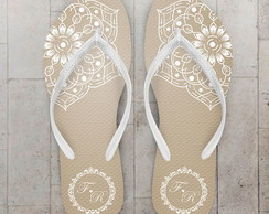 Chinelo Casamento Floral bege