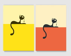 Kit Quadro Decorativo - Poster Gatos