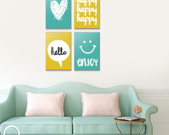 Kit Quadro Decorativo - Happy