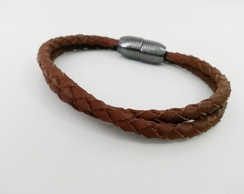 Pulseira Brown leather - fecho ímã