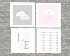 Kit quadro love rosa infantil