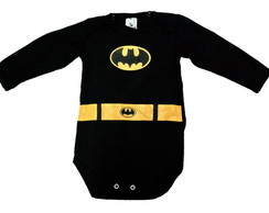 Body Batman Manga Longa Preto