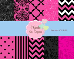 Papel Digital - Preto e Pink