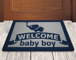 Tapete Capacho Welcome Baby Boy - Fundo Prata - 60x40cm