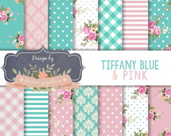 Papel Digital Floral tiffany e Rosa antigo
