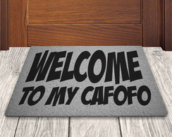 Tapete Capacho Welcome To My Cafofo - Prata - 60x40cm