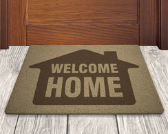 Tapete Capacho Welcome Home - Bege - 60x40cm