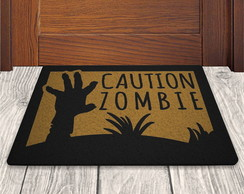 Tapete Capacho Caution Zombie - Ouro - 60x40cm