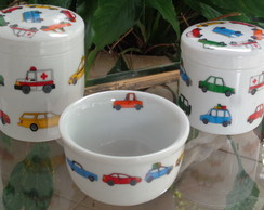 ,KIT HIGIENE POTES PORCELANA CARROS