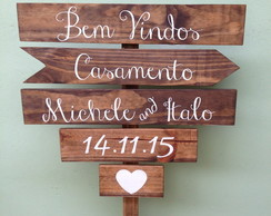 Placa de madeira indicativa 5 msg + haste+ base