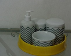 ,KIT HIGIENE PORCELANA CHEVRON CINZA