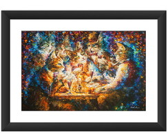 Quadro Gatos Leonid Afremov Sala Art Pet