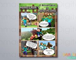 Arte digital - Convite Minecraft Gibi
