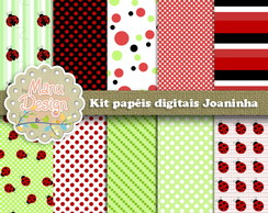 Kit papel digital Tema joaninha
