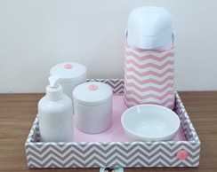 Kit Higiene Chevron Duo Cinza e Rosa T31