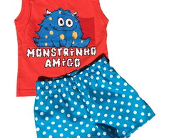 Conjunto Short e Camiseta Monstrinho