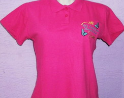 Camiseta Polo Baby Look Bordada
