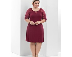 Vestido Plus Size Velure bordô
