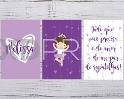 Placa Decorativa PS Kit Bailarina Lilas