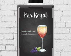 Placa Decorativa Receita Drink Kir Royal