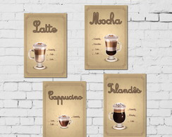 Kit 4 Placas Decorativas MDF Tipos Café