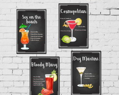 Kit 4 Placas Decorativas Drinks Vodka