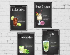 Kit 4 Placas Decorativas Drinks