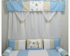 kit cama babá safari 6 pcs e cortina
