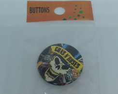 BUTTON 38MM GUNS AND ROSES