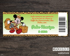 Convite Ingresso Digital Mickey Safari