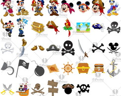 Kit digital corel e PNG - Mickey Pirata
