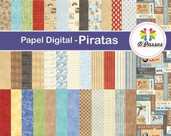 Kit c/ 37 - Papel Digital - Piratas